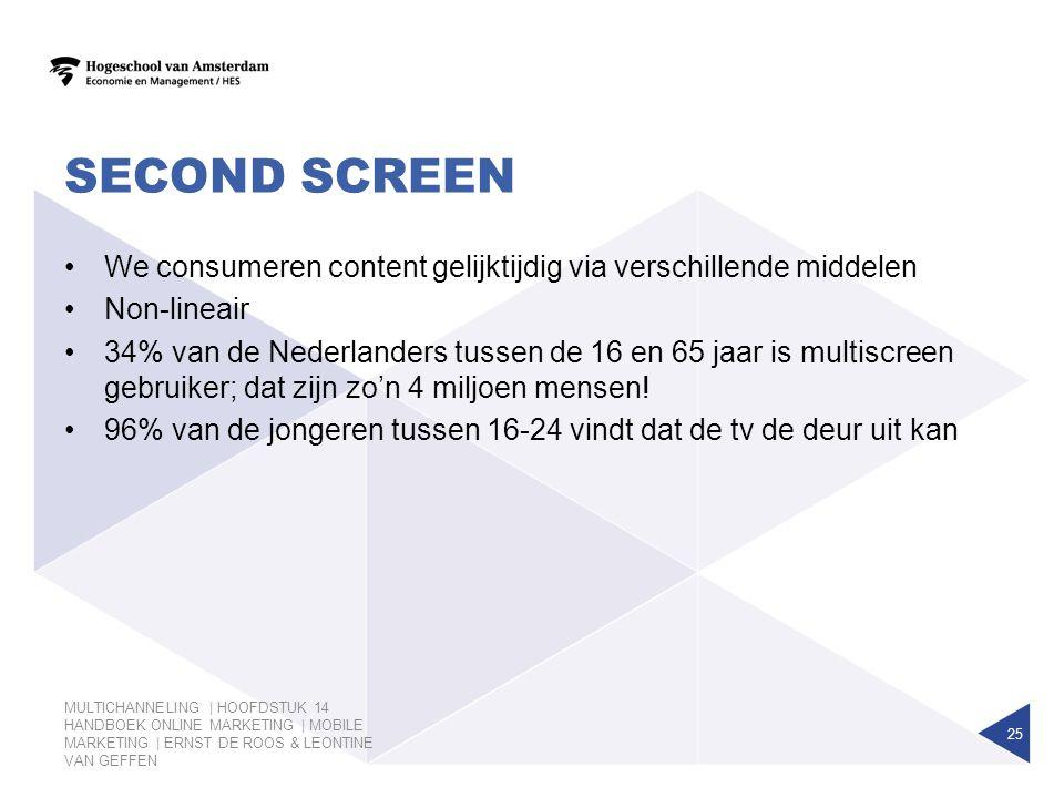 second screen We consumeren content gelijktijdig via verschillende middelen. Non-lineair.