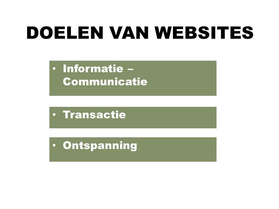 DOELEN VAN WEBSITES Informatie – Communicatie Transactie Ontspanning