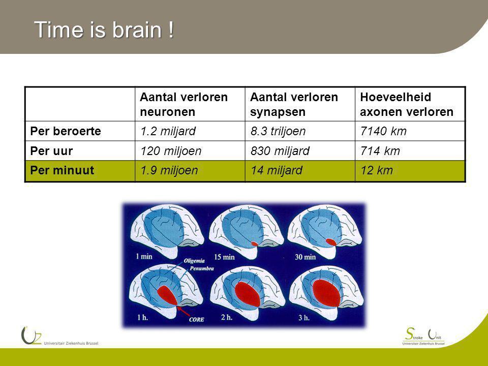 Time is brain ! Aantal verloren neuronen Aantal verloren synapsen