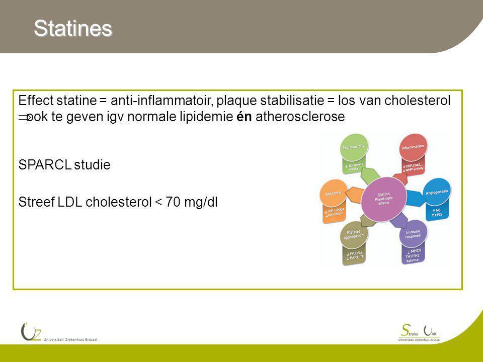 Statines Effect statine = anti-inflammatoir, plaque stabilisatie = los van cholesterol. ook te geven igv normale lipidemie én atherosclerose.