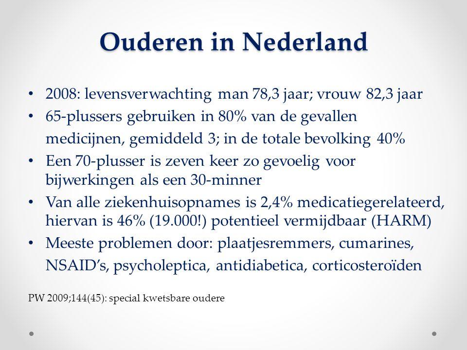 Ouderen in Nederland 2008: levensverwachting man 78,3 jaar; vrouw 82,3 jaar. 65-plussers gebruiken in 80% van de gevallen.