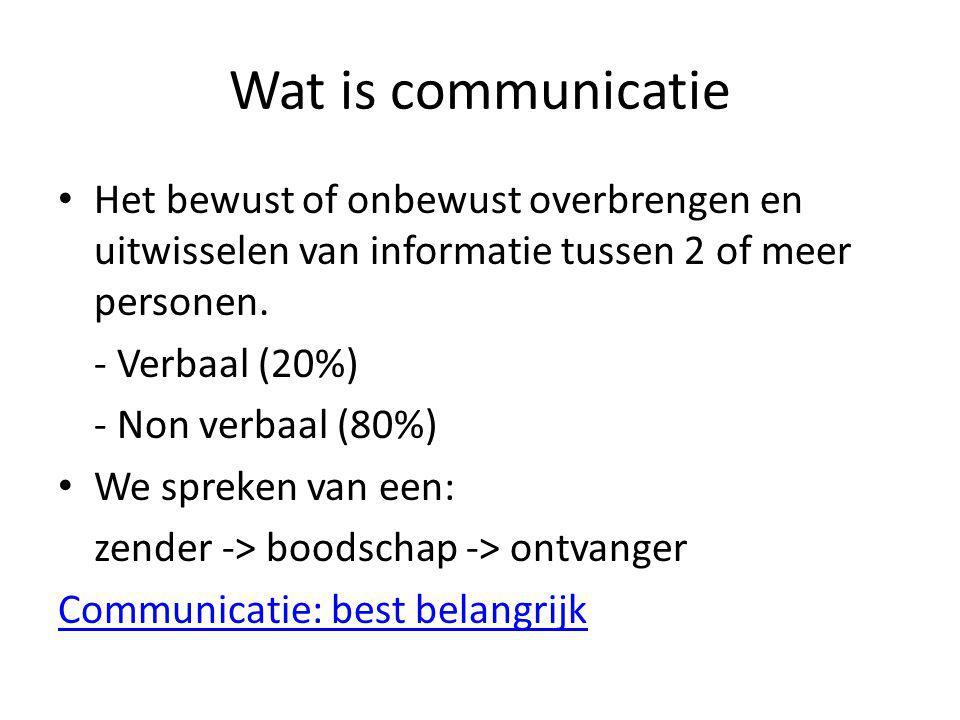 Wat is communicatie Het bewust of onbewust overbrengen en uitwisselen van informatie tussen 2 of meer personen.
