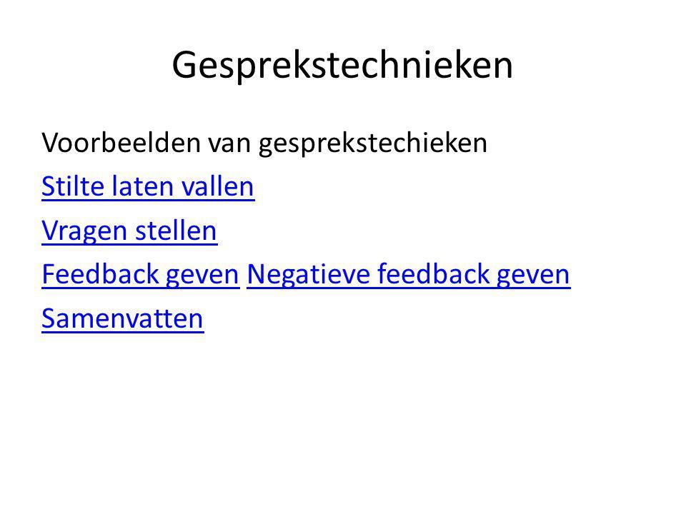 Gesprekstechnieken Voorbeelden van gesprekstechieken Stilte laten vallen Vragen stellen Feedback geven Negatieve feedback geven Samenvatten