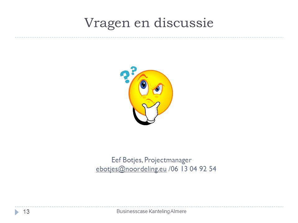 Vragen en discussie Eef Botjes, Projectmanager ebotjes@noordeling.eu /06 13 04 92 54.