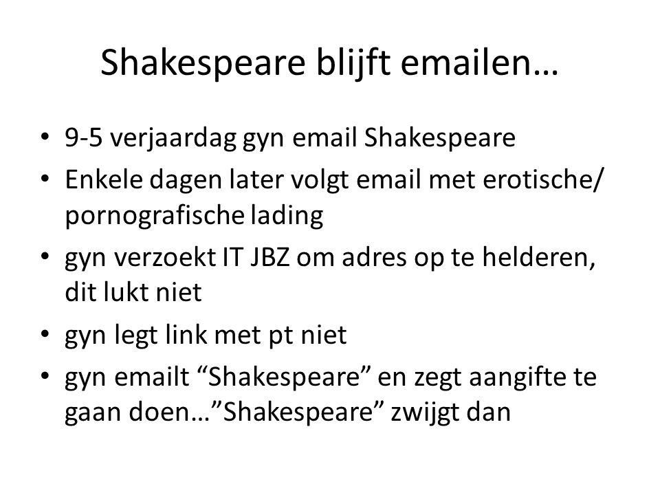 Shakespeare blijft emailen…