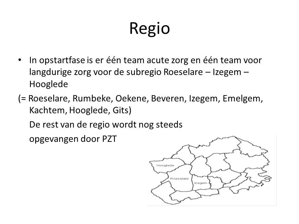 Regio In opstartfase is er één team acute zorg en één team voor langdurige zorg voor de subregio Roeselare – Izegem – Hooglede.