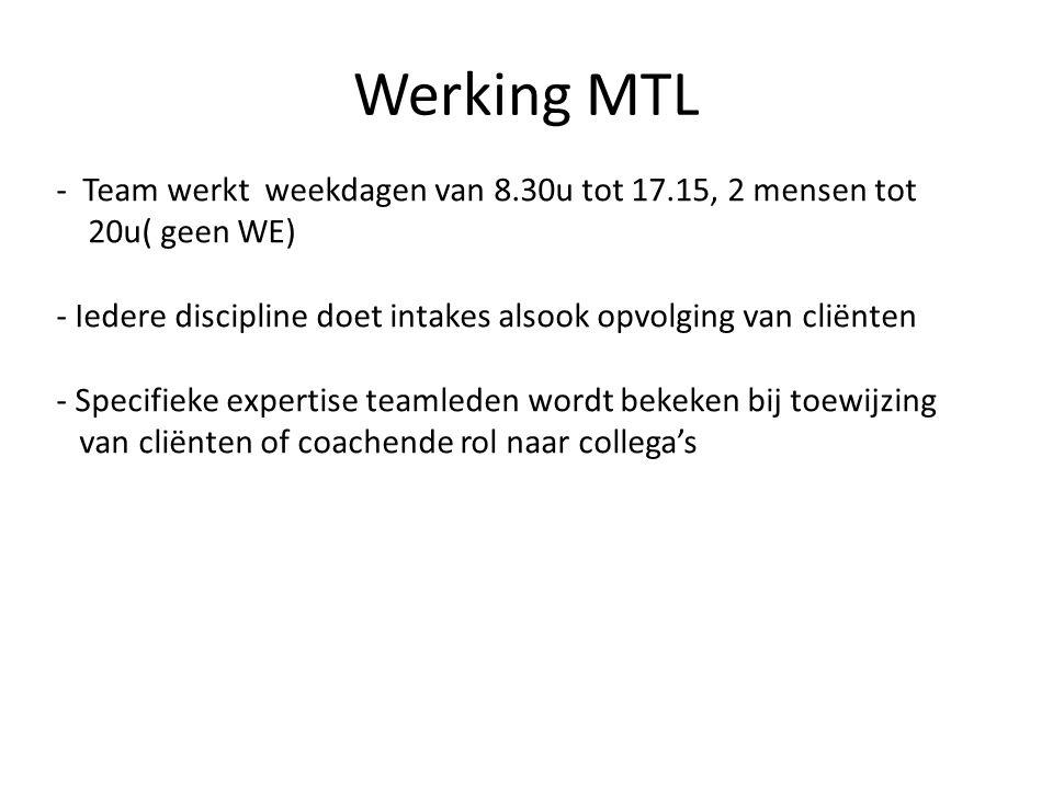 Werking MTL Team werkt weekdagen van 8.30u tot 17.15, 2 mensen tot