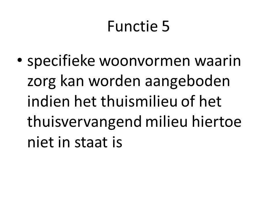 Functie 5 specifieke woonvormen waarin zorg kan worden aangeboden indien het thuismilieu of het thuisvervangend milieu hiertoe niet in staat is.