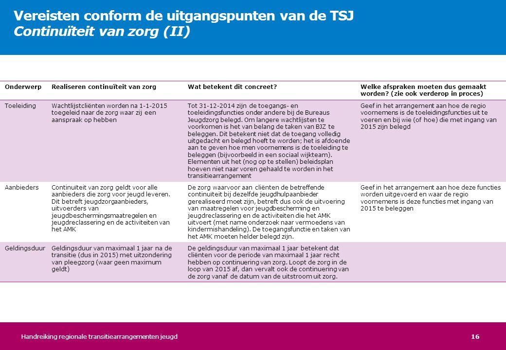 Vereisten conform de uitgangspunten van de TSJ Continuïteit van zorg (II)