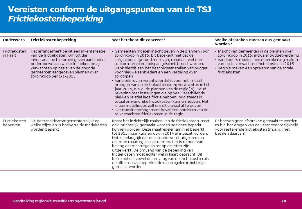 Vereisten conform de uitgangspunten van de TSJ Frictiekostenbeperking