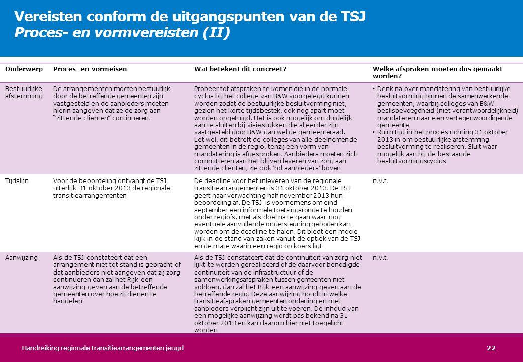 Vereisten conform de uitgangspunten van de TSJ Proces- en vormvereisten (II)