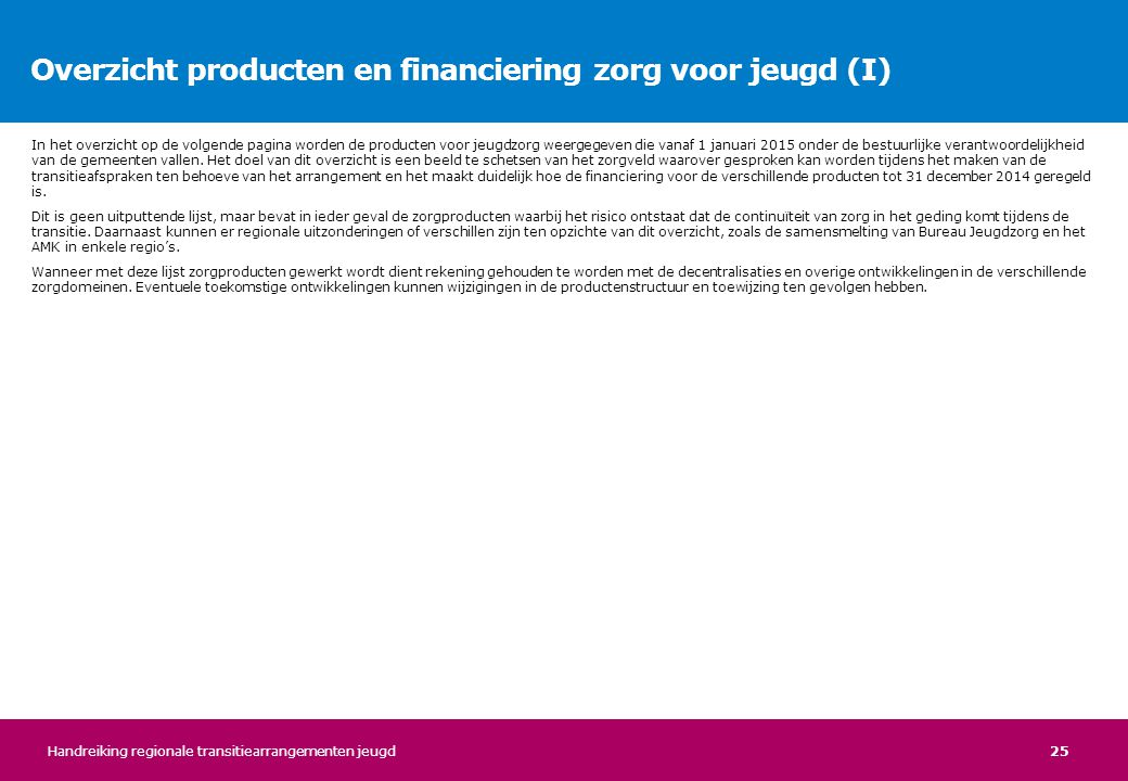 Overzicht producten en financiering zorg voor jeugd (I)