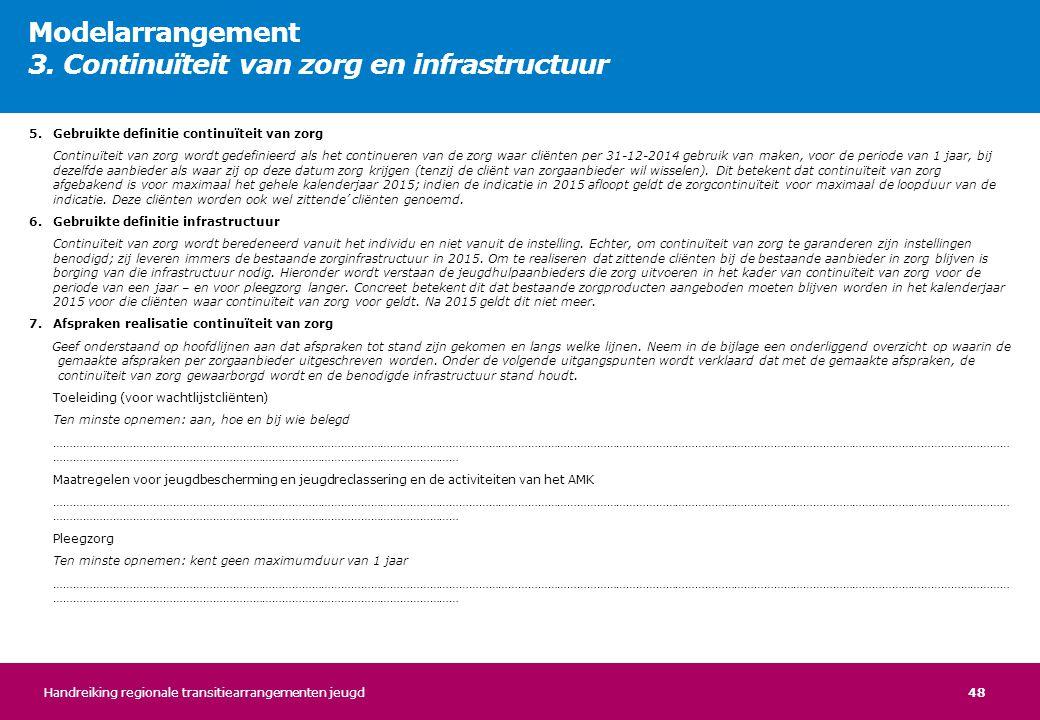 Modelarrangement 3. Continuïteit van zorg en infrastructuur