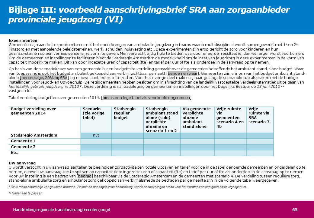 Bijlage III: voorbeeld aanschrijvingsbrief SRA aan zorgaanbieder provinciale jeugdzorg (VI)
