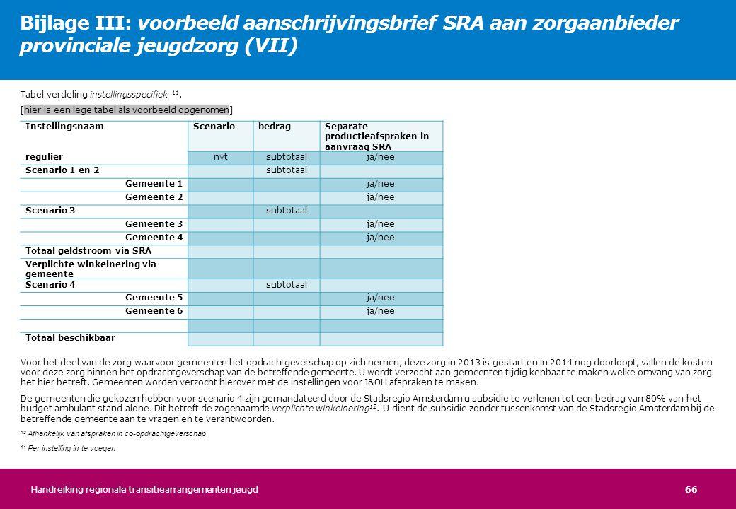 Bijlage III: voorbeeld aanschrijvingsbrief SRA aan zorgaanbieder provinciale jeugdzorg (VII)