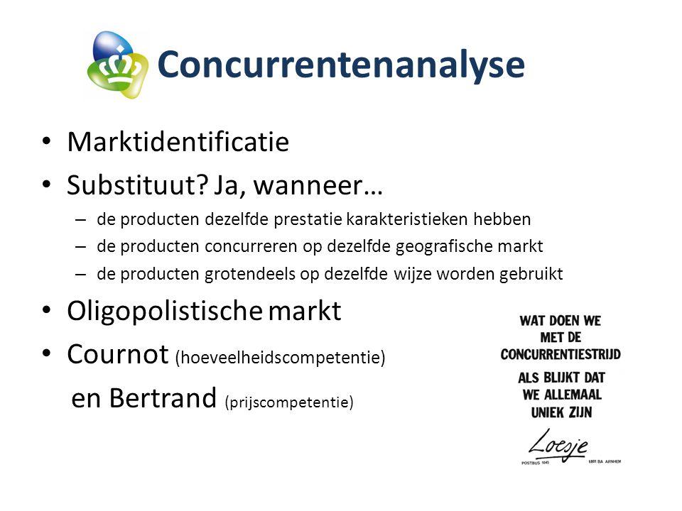 Concurrentenanalyse Marktidentificatie Substituut Ja, wanneer…