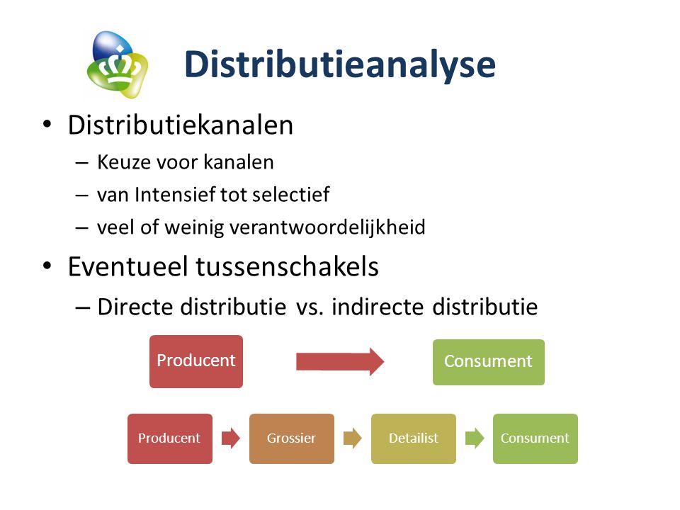 Distributieanalyse Distributiekanalen Eventueel tussenschakels