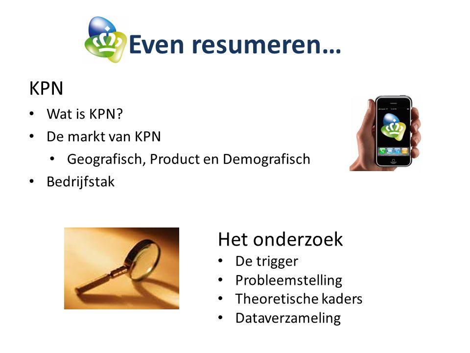 Even resumeren… KPN Het onderzoek Wat is KPN De markt van KPN