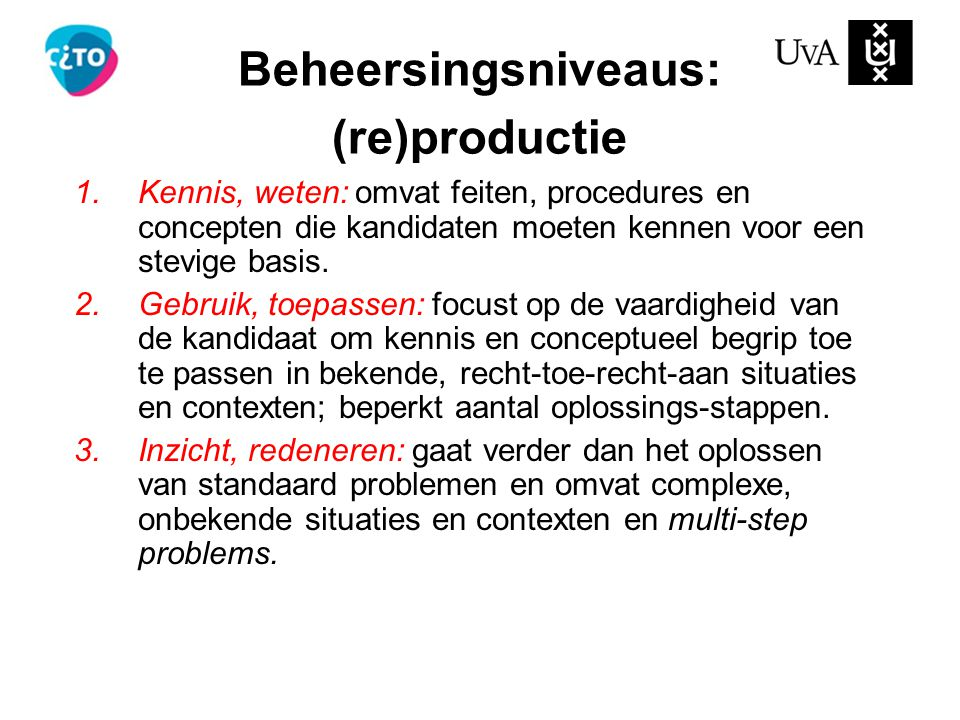 Beheersingsniveaus: (re)productie