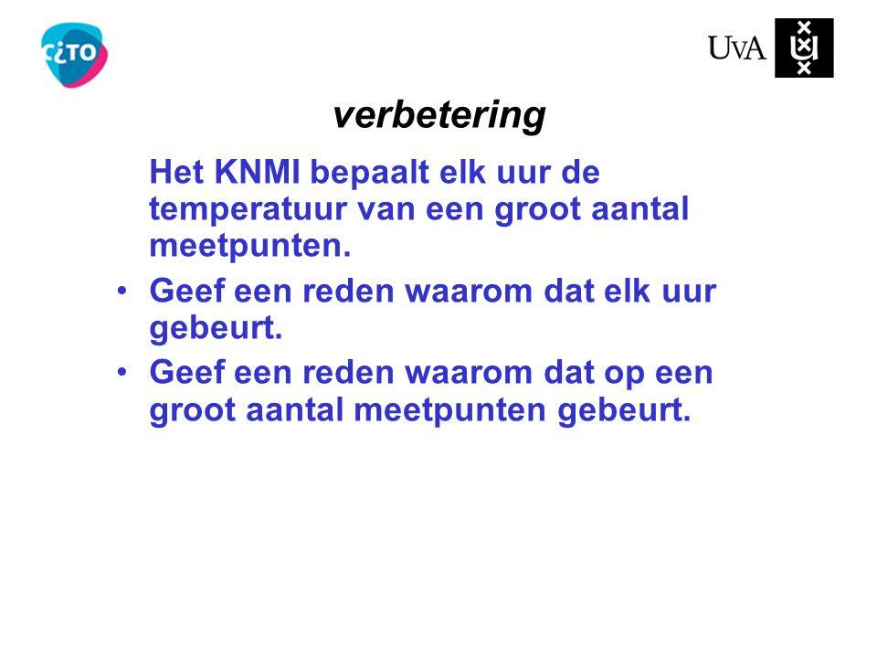 verbetering Het KNMI bepaalt elk uur de temperatuur van een groot aantal meetpunten. Geef een reden waarom dat elk uur gebeurt.
