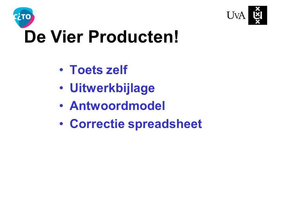 De Vier Producten! Toets zelf Uitwerkbijlage Antwoordmodel