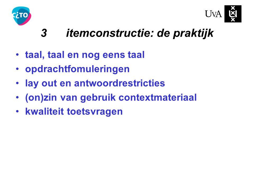 3 itemconstructie: de praktijk