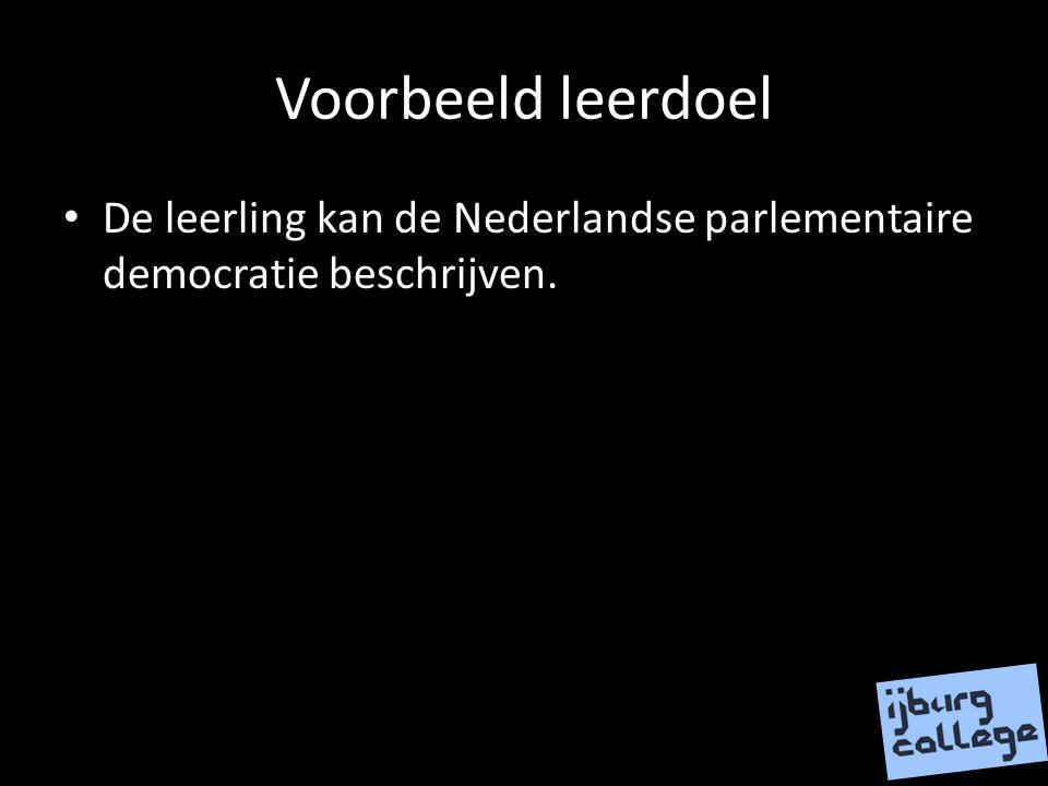 Voorbeeld leerdoel De leerling kan de Nederlandse parlementaire democratie beschrijven.
