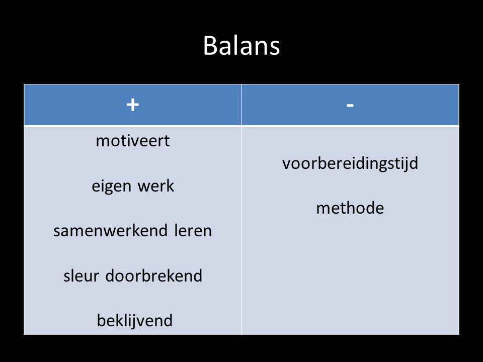 Balans + - motiveert voorbereidingstijd eigen werk methode