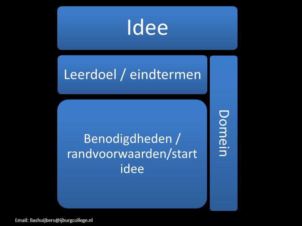 Benodigdheden / randvoorwaarden/start idee
