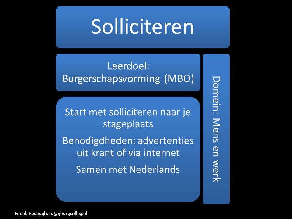 Solliciteren Leerdoel: Burgerschapsvorming (MBO) Benodigdheden: advertenties uit krant of via internet.