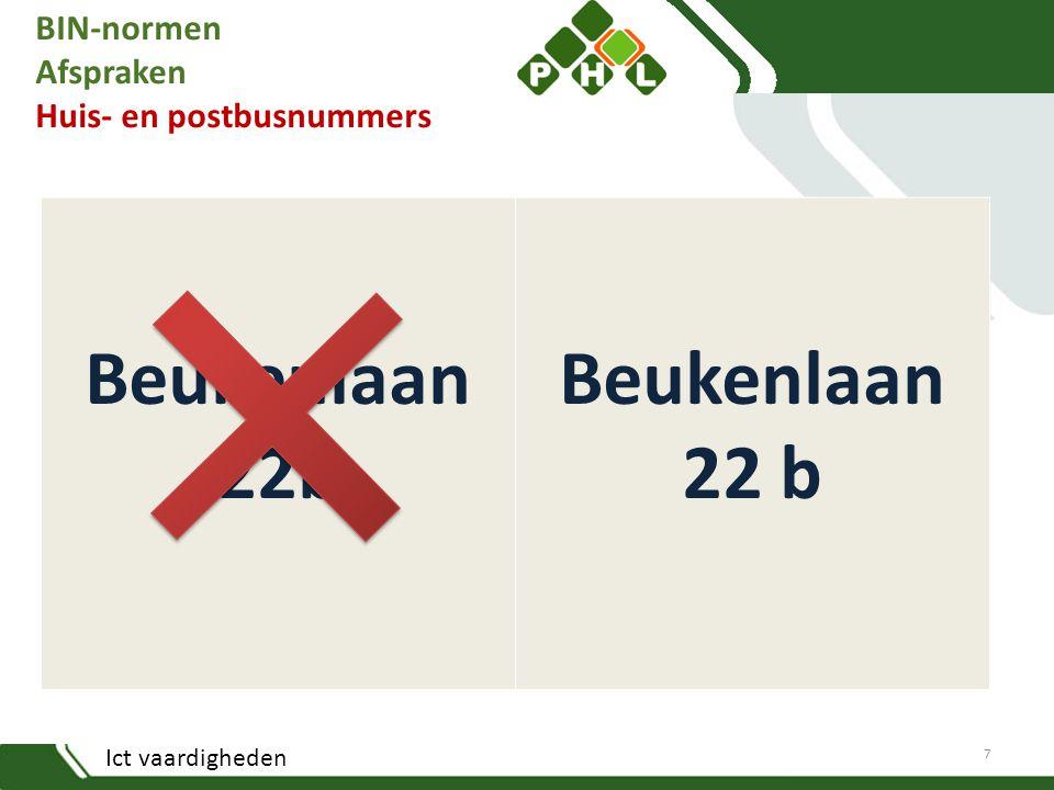 BIN-normen Afspraken Huis- en postbusnummers