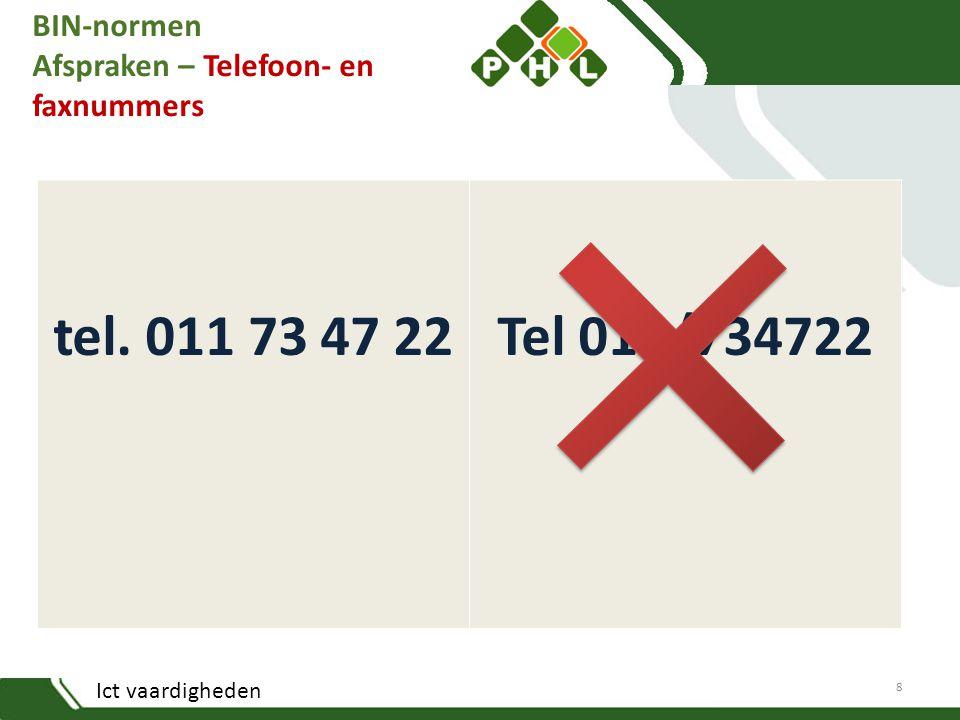 BIN-normen Afspraken – Telefoon- en faxnummers