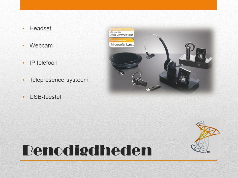 Benodigdheden Headset Webcam IP telefoon Telepresence systeem
