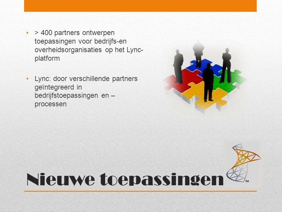 > 400 partners ontwerpen toepassingen voor bedrijfs-en overheidsorganisaties op het Lync-platform
