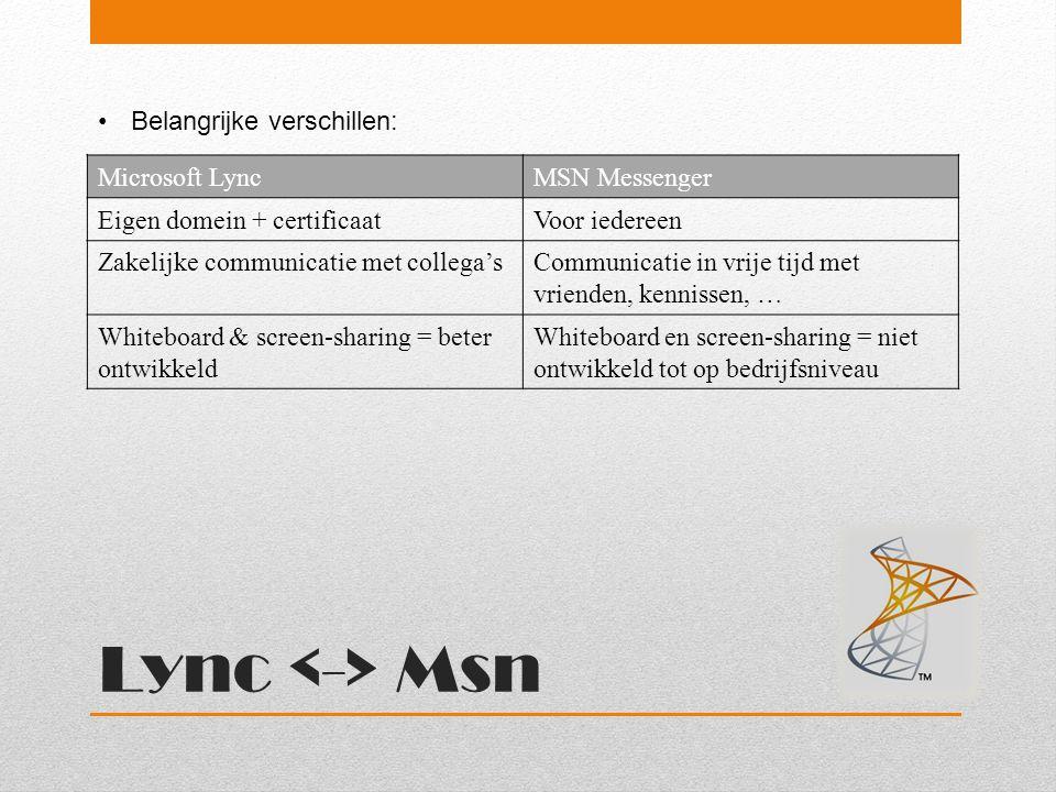 Lync <-> Msn Belangrijke verschillen: Microsoft Lync