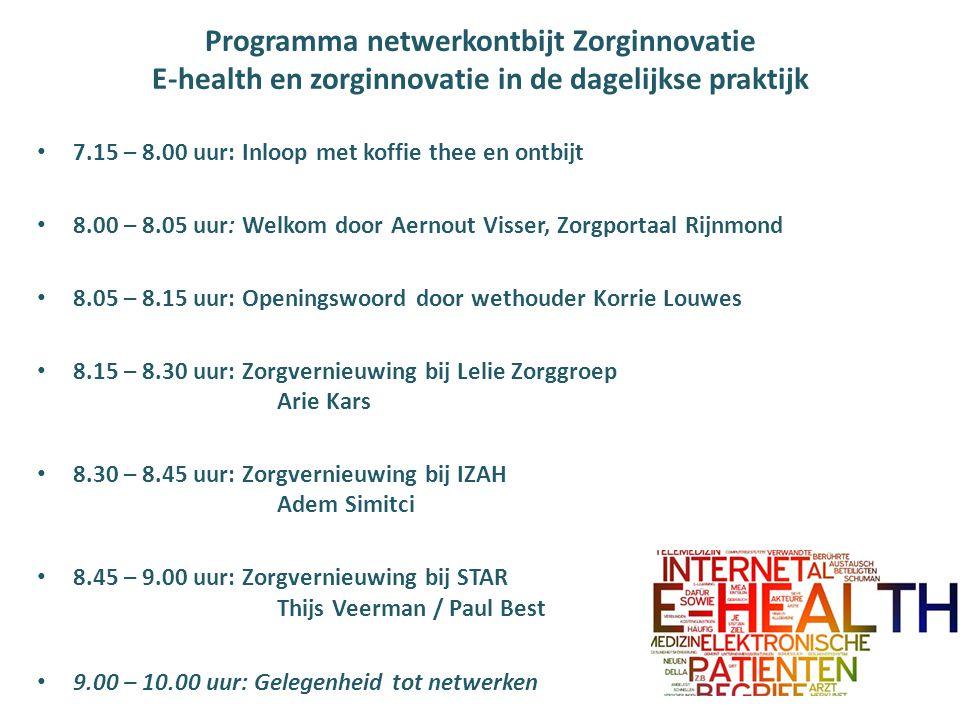 Programma netwerkontbijt Zorginnovatie E-health en zorginnovatie in de dagelijkse praktijk