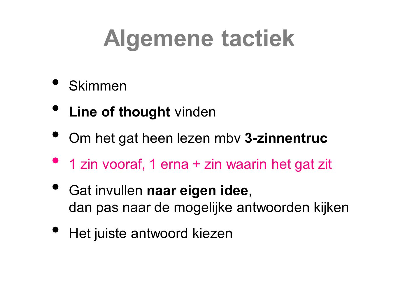 Algemene tactiek Skimmen Line of thought vinden