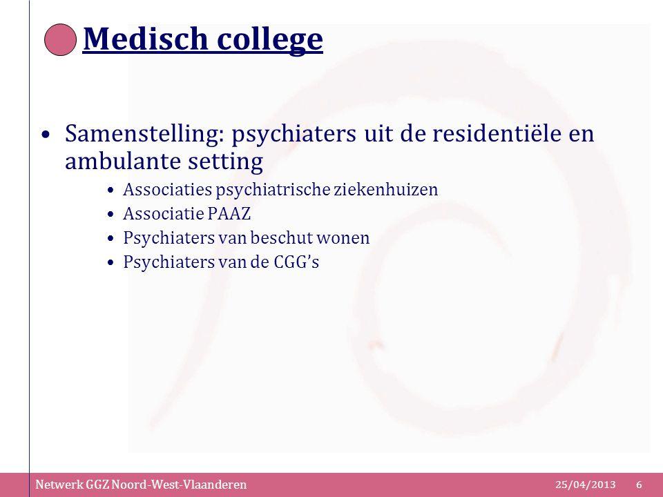 Medisch college Samenstelling: psychiaters uit de residentiële en ambulante setting. Associaties psychiatrische ziekenhuizen.