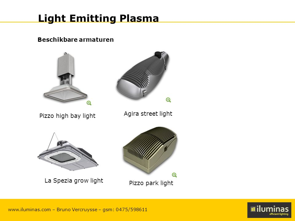 Light Emitting Plasma Beschikbare armaturen Agira street light