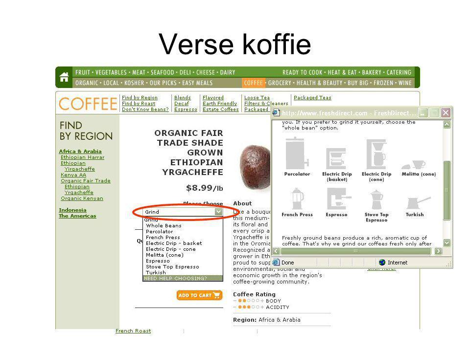 Verse koffie Importeren groene bonen, branden en malen die tot koffiepoeder