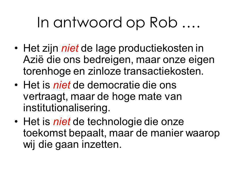 In antwoord op Rob …. Het zijn niet de lage productiekosten in Azië die ons bedreigen, maar onze eigen torenhoge en zinloze transactiekosten.