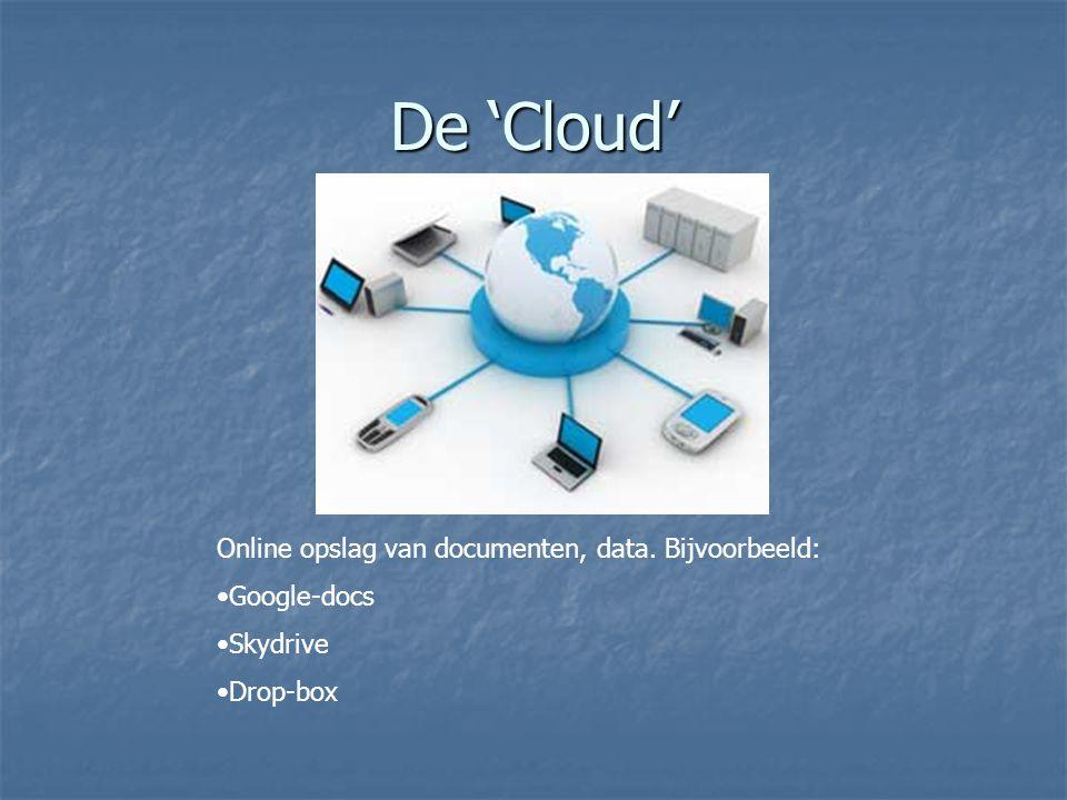 De 'Cloud' Online opslag van documenten, data. Bijvoorbeeld: