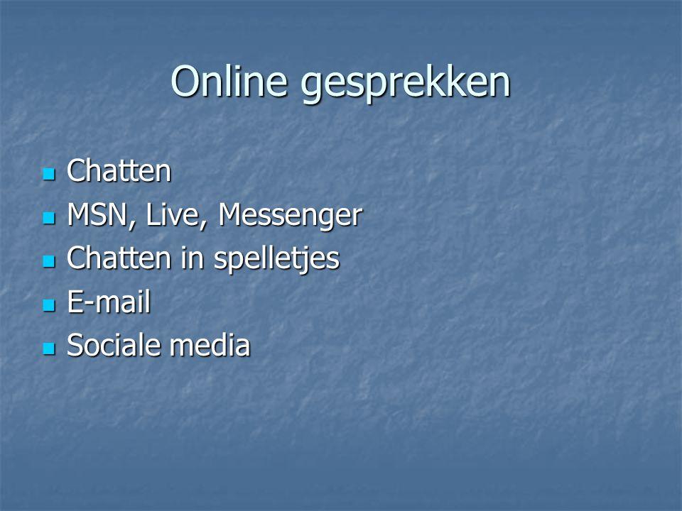 Online gesprekken Chatten MSN, Live, Messenger Chatten in spelletjes