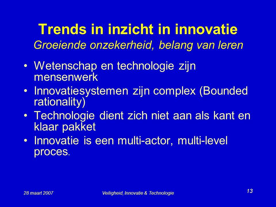 Trends in inzicht in innovatie Groeiende onzekerheid, belang van leren