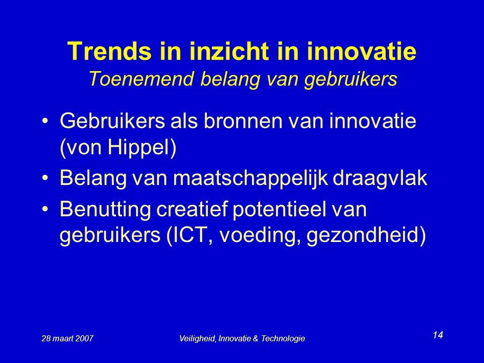 Trends in inzicht in innovatie Toenemend belang van gebruikers