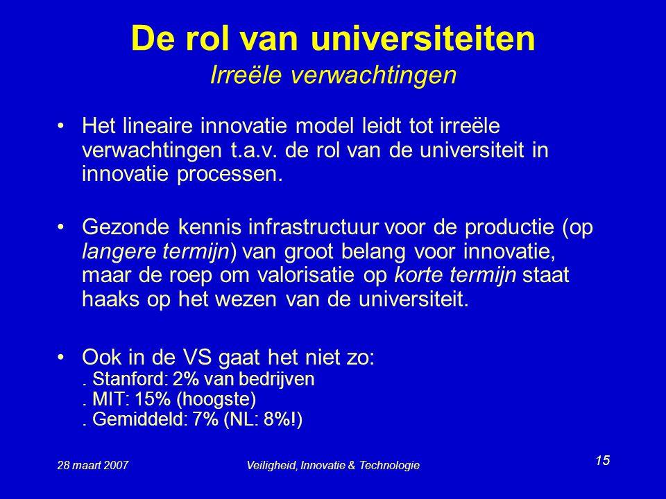De rol van universiteiten Irreële verwachtingen