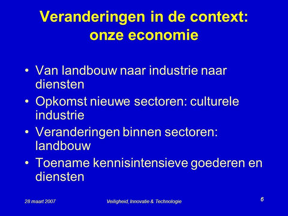 Veranderingen in de context: onze economie