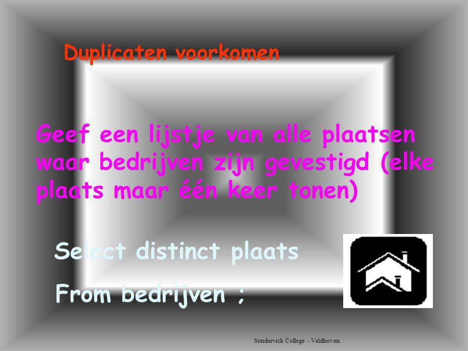 Select distinct plaats