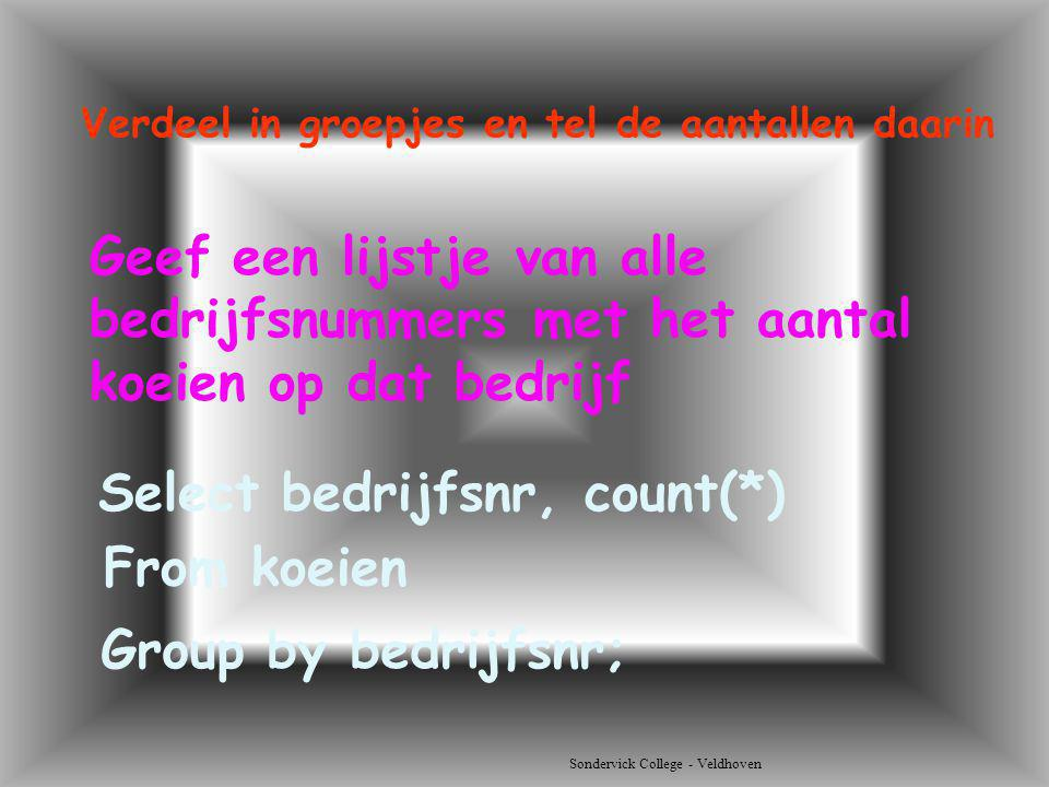 Select bedrijfsnr, count(*) From koeien