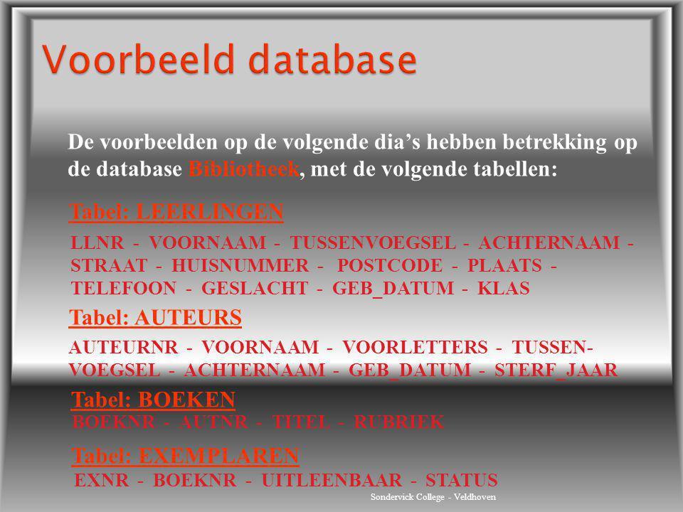 Voorbeeld database De voorbeelden op de volgende dia's hebben betrekking op de database Bibliotheek, met de volgende tabellen: